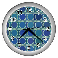 Circles Abstract Blue Pattern Wall Clocks (silver)  by Nexatart