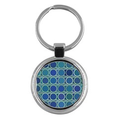 Circles Abstract Blue Pattern Key Chains (round)