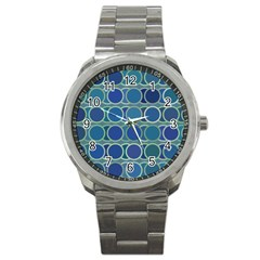 Circles Abstract Blue Pattern Sport Metal Watch