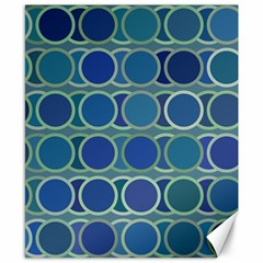 Circles Abstract Blue Pattern Canvas 8  X 10  by Nexatart