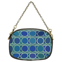 Circles Abstract Blue Pattern Chain Purses (two Sides)  by Nexatart