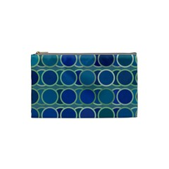 Circles Abstract Blue Pattern Cosmetic Bag (small)  by Nexatart