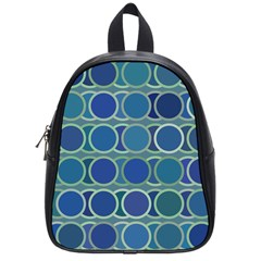 Circles Abstract Blue Pattern School Bags (small)