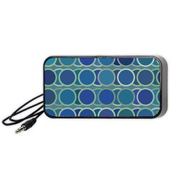 Circles Abstract Blue Pattern Portable Speaker (black) by Nexatart