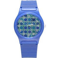 Circles Abstract Blue Pattern Round Plastic Sport Watch (s)