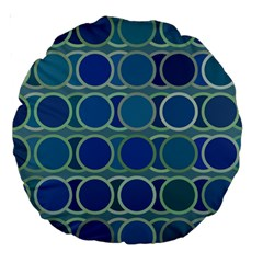 Circles Abstract Blue Pattern Large 18  Premium Round Cushions