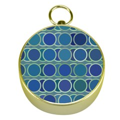 Circles Abstract Blue Pattern Gold Compasses by Nexatart