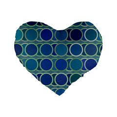 Circles Abstract Blue Pattern Standard 16  Premium Flano Heart Shape Cushions