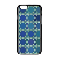 Circles Abstract Blue Pattern Apple Iphone 6/6s Black Enamel Case by Nexatart
