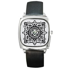 Celtic Draw Drawing Hand Draw Square Metal Watch by Nexatart