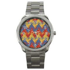 Aztec Traditional Ethnic Pattern Sport Metal Watch by Nexatart