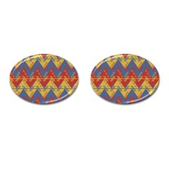 Aztec Traditional Ethnic Pattern Cufflinks (oval)