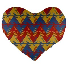 Aztec Traditional Ethnic Pattern Large 19  Premium Flano Heart Shape Cushions by Nexatart