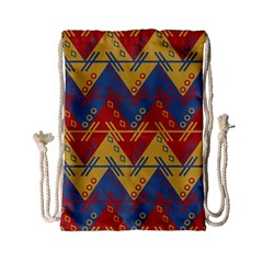 Aztec Traditional Ethnic Pattern Drawstring Bag (small) by Nexatart
