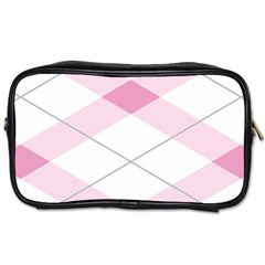 Tablecloth Stripes Diamonds Pink Toiletries Bags 2 Side