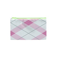 Tablecloth Stripes Diamonds Pink Cosmetic Bag (xs) by Nexatart