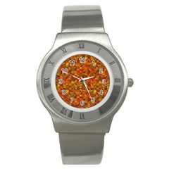 Gold Mosaic Background Pattern Stainless Steel Watch