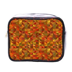 Gold Mosaic Background Pattern Mini Toiletries Bags by Nexatart