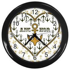 Anchor Heart Wall Clocks (black) by Nexatart