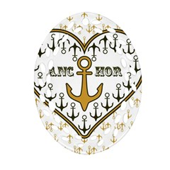 Anchor Heart Oval Filigree Ornament (two Sides)
