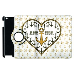 Anchor Heart Apple Ipad 3/4 Flip 360 Case by Nexatart