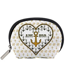 Anchor Heart Accessory Pouches (small)  by Nexatart