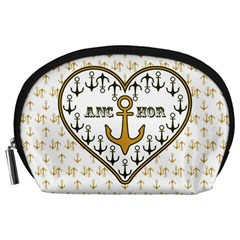 Anchor Heart Accessory Pouches (large)  by Nexatart