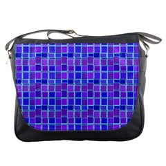 Background Mosaic Purple Blue Messenger Bags by Nexatart