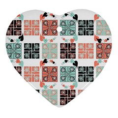 Mint Black Coral Heart Paisley Ornament (heart)