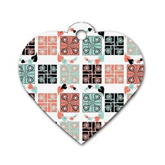 Mint Black Coral Heart Paisley Dog Tag Heart (two Sides) by Nexatart