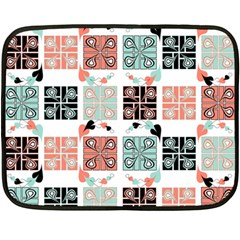 Mint Black Coral Heart Paisley Double Sided Fleece Blanket (mini)