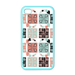 Mint Black Coral Heart Paisley Apple Iphone 4 Case (color) by Nexatart