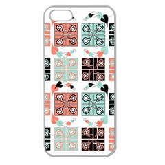 Mint Black Coral Heart Paisley Apple Seamless Iphone 5 Case (clear) by Nexatart