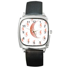 Moon Moonface Pattern Outlines Square Metal Watch by Nexatart