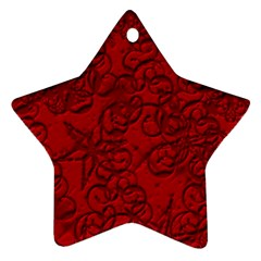 Christmas Background Red Star Ornament (star)
