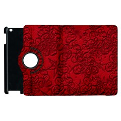 Christmas Background Red Star Apple Ipad 3/4 Flip 360 Case
