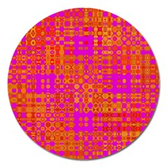 Pink Orange Bright Abstract Magnet 5  (round)