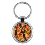 Abstract Background Digital Green Key Chains (Round)  Front