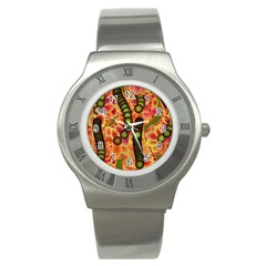 Abstract Background Digital Green Stainless Steel Watch