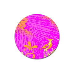 Spring Tropical Floral Palm Bird Magnet 3  (round) by Nexatart