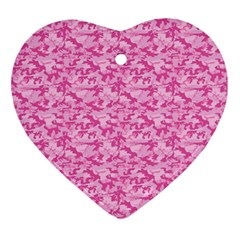Shocking Pink Camouflage Pattern Ornament (heart) by tarastyle
