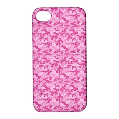Shocking Pink Camouflage Pattern Apple Iphone 4/4s Hardshell Case With Stand by tarastyle