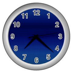 Blue Dot Wall Clocks (silver)  by PhotoNOLA