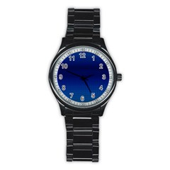 Blue Dot Stainless Steel Round Watch by PhotoNOLA