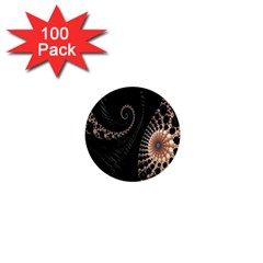 Fractal Black Pearl Abstract Art 1  Mini Buttons (100 Pack)  by Nexatart