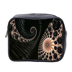 Fractal Black Pearl Abstract Art Mini Toiletries Bag 2 Side by Nexatart