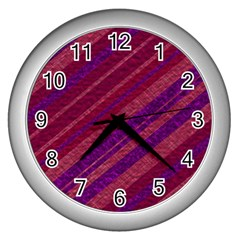 Stripes Course Texture Background Wall Clocks (silver)  by Nexatart