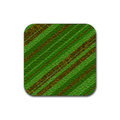 Stripes Course Texture Background Rubber Square Coaster (4 Pack)