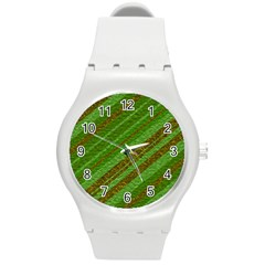 Stripes Course Texture Background Round Plastic Sport Watch (m) by Nexatart