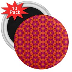 Pattern Abstract Floral Bright 3  Magnets (10 Pack)